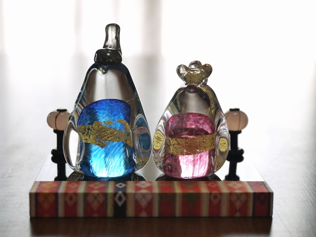 【naoichi4313さまご予約品】ガラスのペンギンお雛様(ブルー&ピンク)