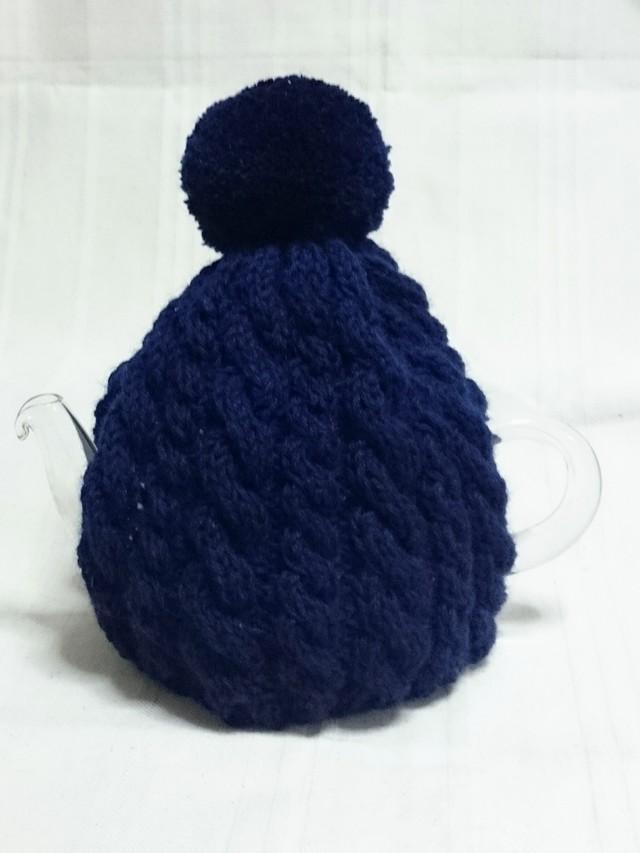 縄編みのティーコゼー(紺)