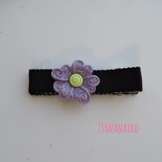 紫キラキラフラワー ヘアクリップ