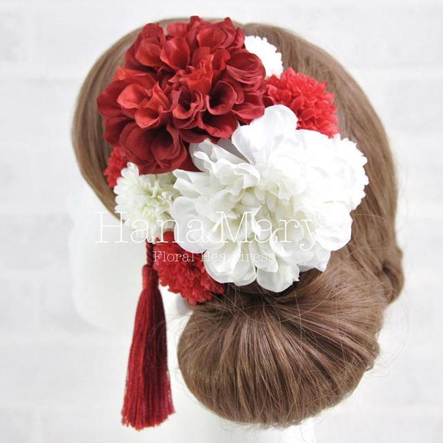 紅白ダリアの髪飾り