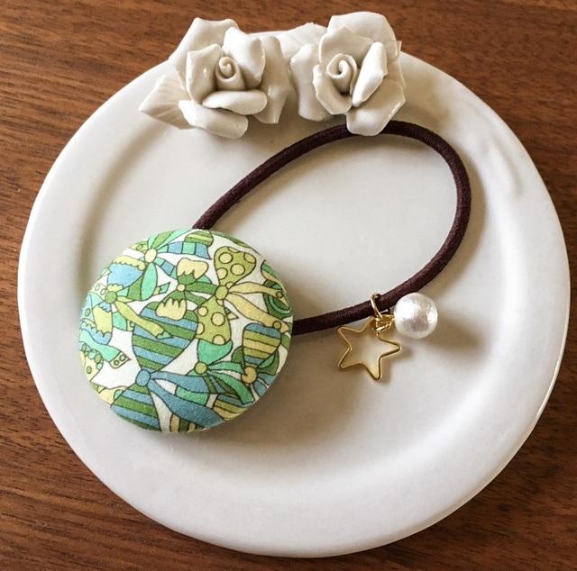 【再販★2】リバティ☆ Jenny's Ribbons くるみボタンヘアゴム メロンソーダ