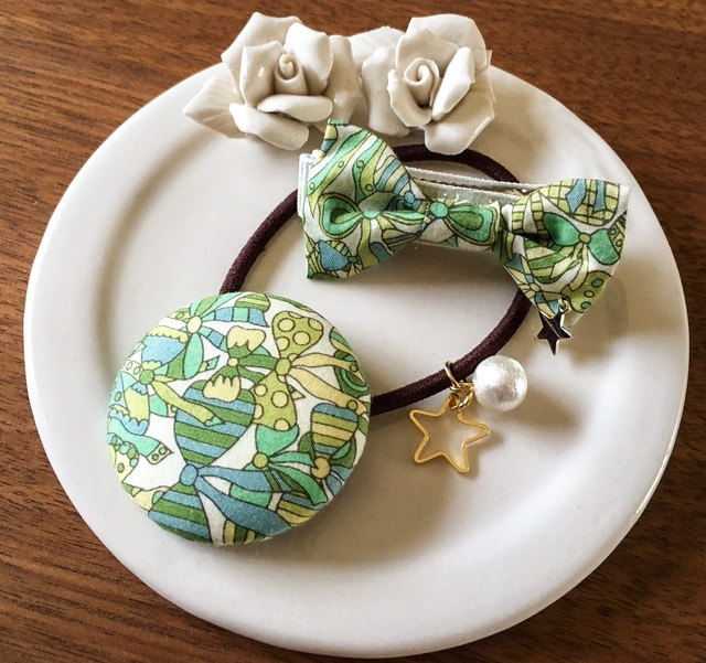 ママとお揃いリバティ☆ Jenny's Ribbons オシャレセット メロンソーダ