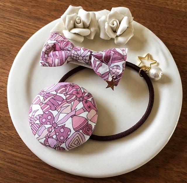【再販】ママとお揃いリバティ☆ Jenny's Ribbons オシャレセット いちごミルク