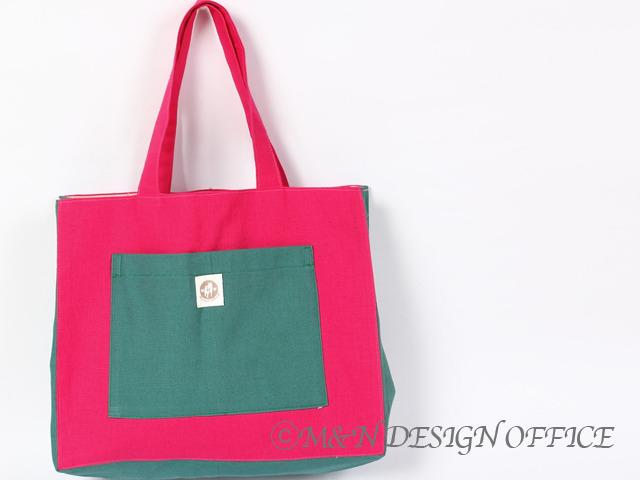 M&Nオリジナルカラフルバッグ/ピンク&ピーコックグリーン
