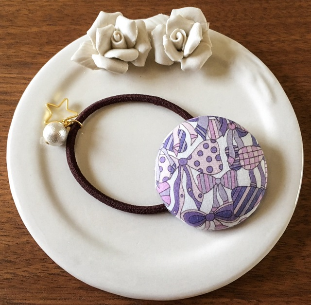 【再販】リバティ☆ Jenny's Ribbons くるみボタンヘアゴム グレープ