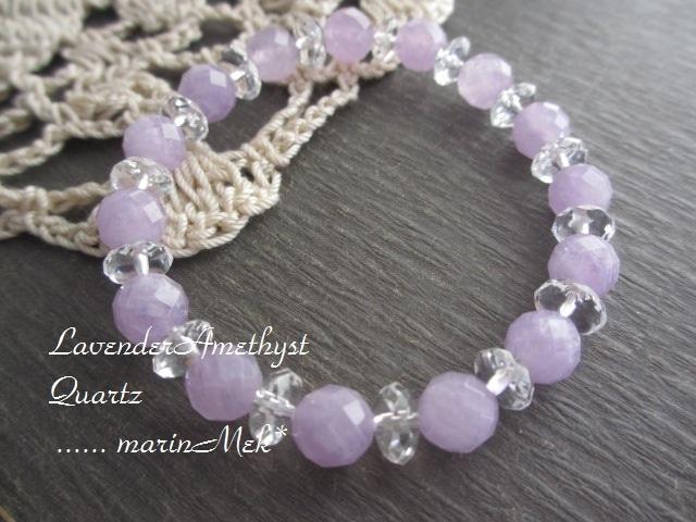 【Lavender♪】アメジスト&水晶ブレスレット