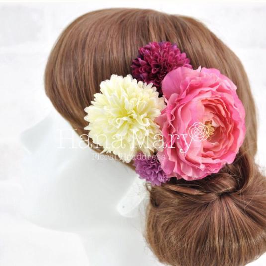 ピンクラナンキュラスの髪飾り