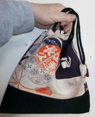 着物リメイク 綿の男の子の着物で作った信玄袋 1052