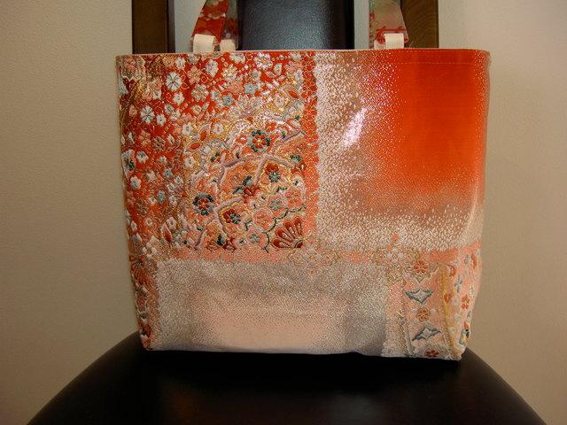 帯で作ったトートバッグ(持ち手共布)