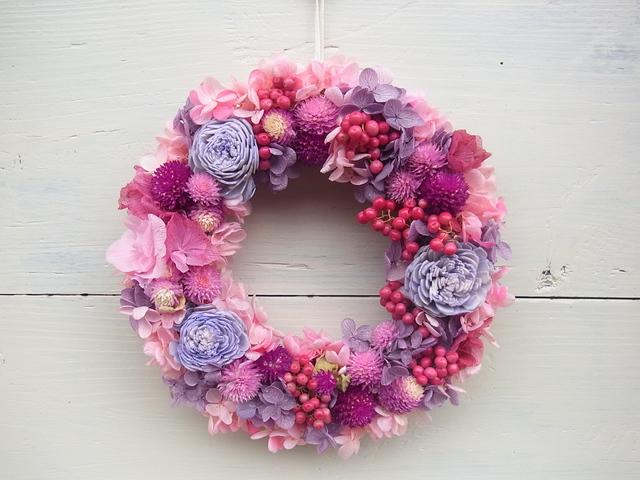 《再販》ピンクと紫のリース