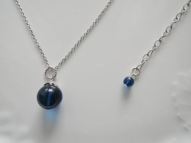 青い果実☆天然琥珀 ブルカラーアンバーSV925製ネックレス(1018)