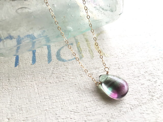 Bicolor Fluorite Necklace *14kgf*  AAAA