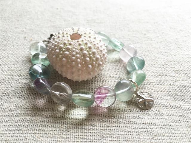 fluorite beach bracelet-sand dollar