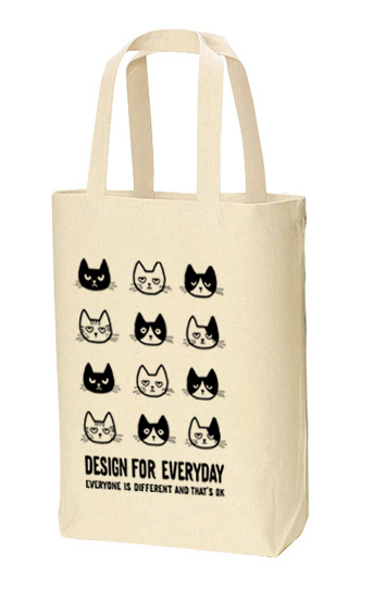 EVERYONE IS DIFFERENT AND THAT'S OK 〜ねこシリーズ〜 トートバック Mサイズ【受注生産品】