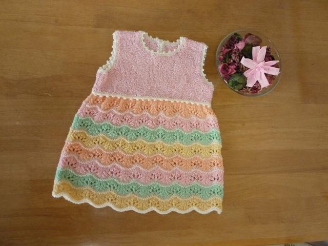 子供用手編みシャーベットカラーのチュニック