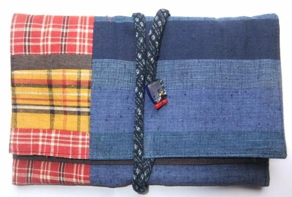 着物リメイク 土佐紬で作った和風財布 1053