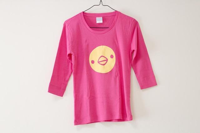 ひよこさん3匹Tシャツ 女性用M トロピカルピンク