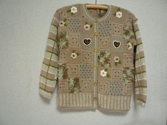 手編みパッチワークキルト風のカーディガン