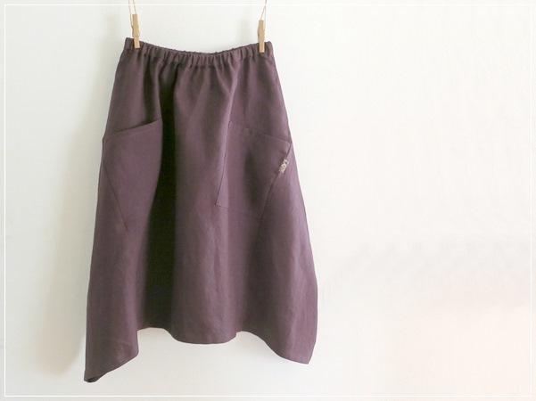 purple*  ヘムライン リネンバルーンスカート+リバティ