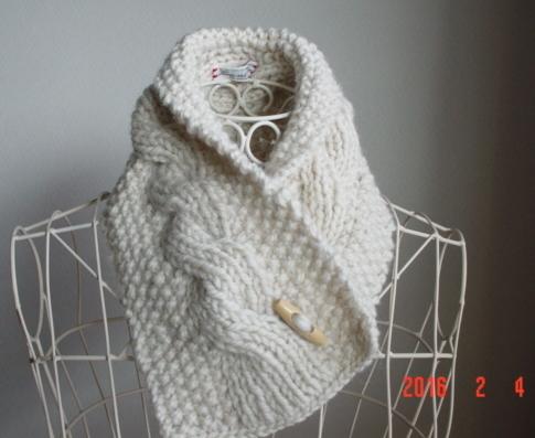 ☆彡鹿の子編み&rib縄編みのCowl Neck Warmer
