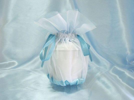 覆い袋(骨壷カバー) 骨壷セット 3寸(約12.6cm) エンジェルハート ブルー