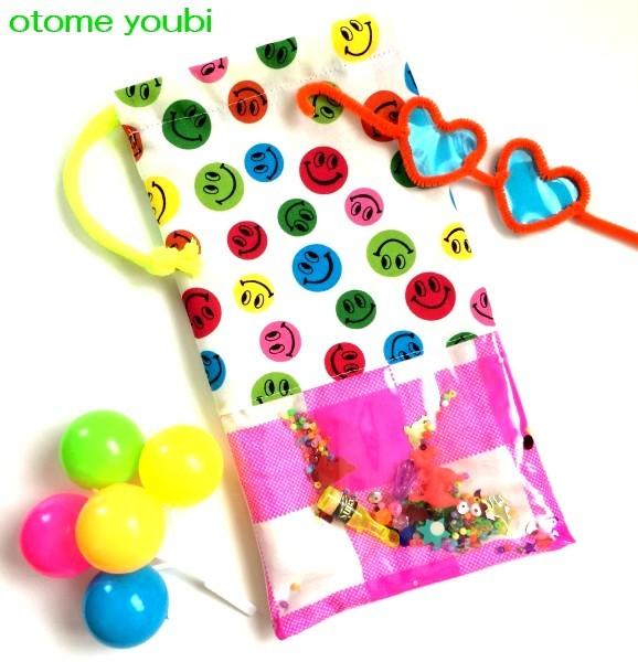◆SALE◆シャカシャカ動く!おもちゃ箱みたいな巾着袋・にこS