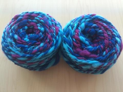 麻の繊維入り紡ぎ糸(青)