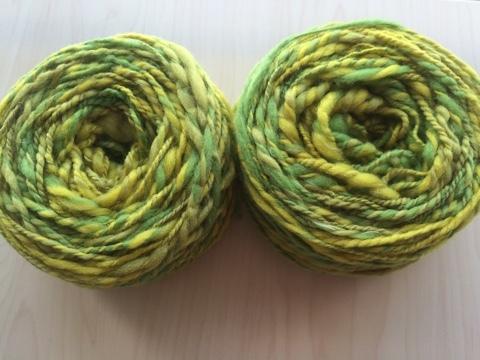 麻の繊維入り紡ぎ糸(黄色)