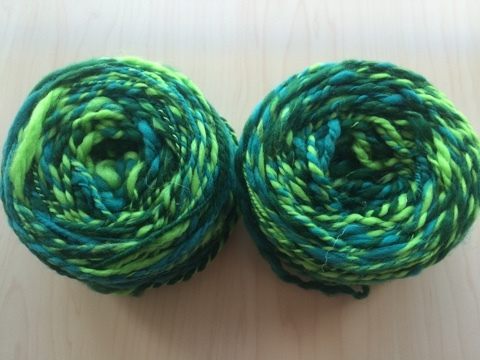 麻の繊維入り紡ぎ糸(緑)