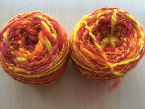 麻の繊維入り紡ぎ糸(オレンジ)