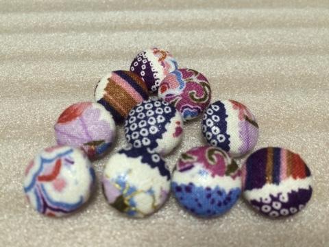 くるみボタンセット 1.5cm 和柄紫系10個組