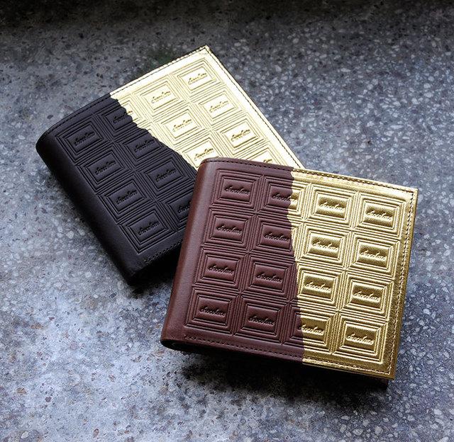 革のチョコレート・二つ折り財布(金の包み紙)