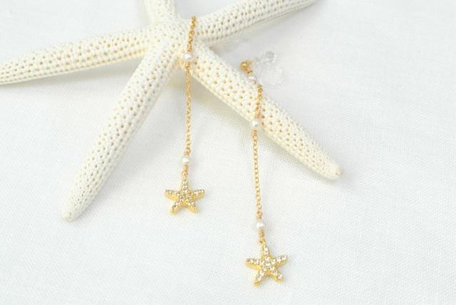 【樹脂】星と淡水パールのノンホールピアス
