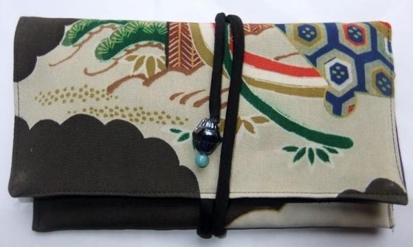 着物リメイク 色留袖で作った和風財布 1067