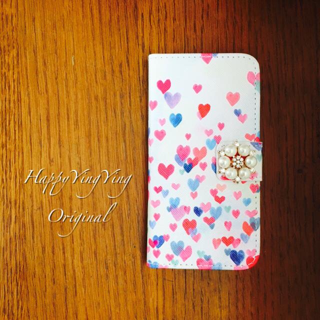 【iphone6plus/6Splus】【穴2】舞い上がったハート手帳型ケース