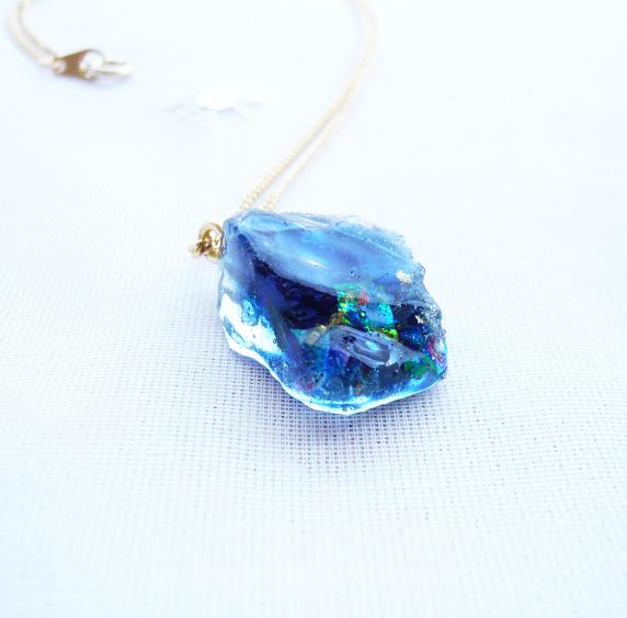 鉱石ネックレス40/深海ブルー