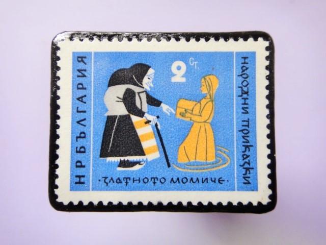 童話切手ブローチ787
