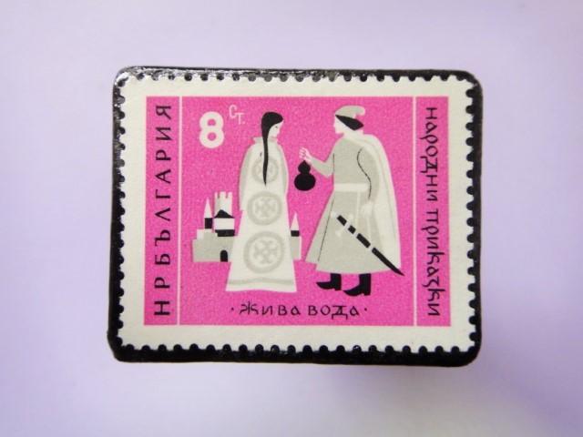 童話切手ブローチ788