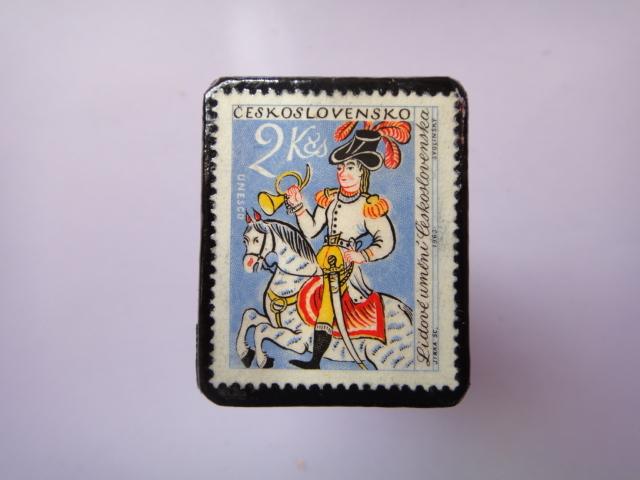 チェコスロバキア 切手ブローチ793