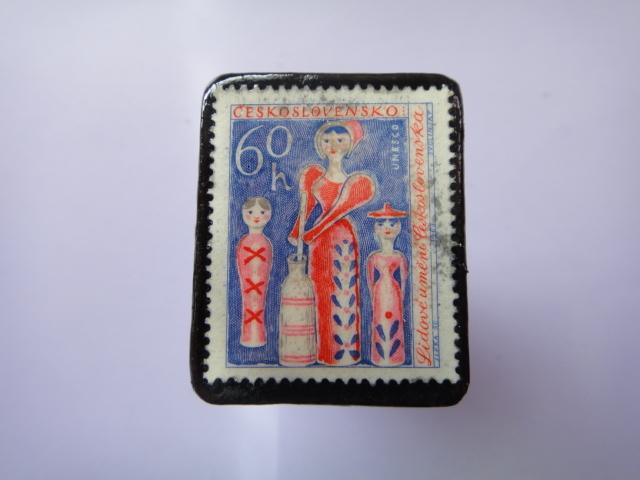 チェコスロバキア 切手ブローチ797