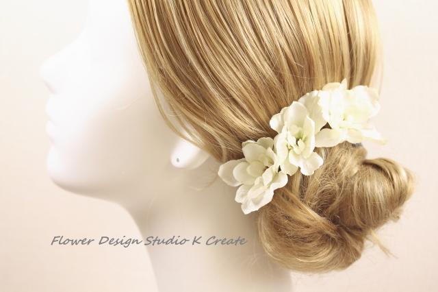 白いデルフィニュウムのヘッドドレス(S:Uピン3本セット)