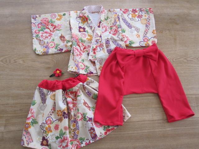 aoia 様オーダー品 80cm 着物&袴もどき&スカート、髪飾り