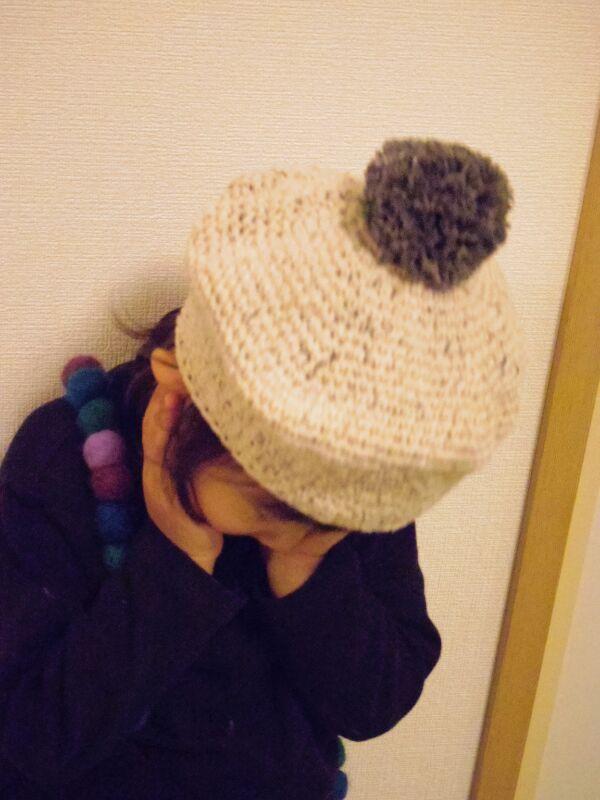 ポンポン付きベレー帽 アイボリーMサイズ