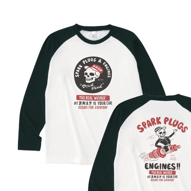 スパークプラグ&骸骨(両面)前A柄 後ろB柄 ラグラン長袖Tシャツ【受注生産品】