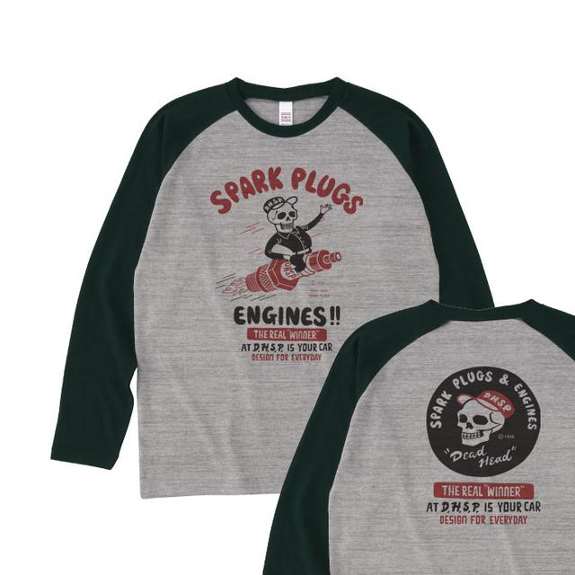 スパークプラグ&骸骨(両面)前B柄 後ろA柄 ラグラン長袖Tシャツ【受注生産品】
