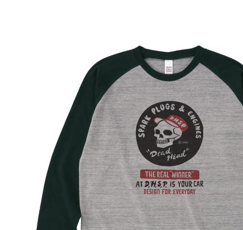 スパークプラグ&骸骨(片面)前A柄 ラグラン長袖Tシャツ【受注生産品】