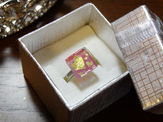 ダイクロガラスの指輪(ハート)