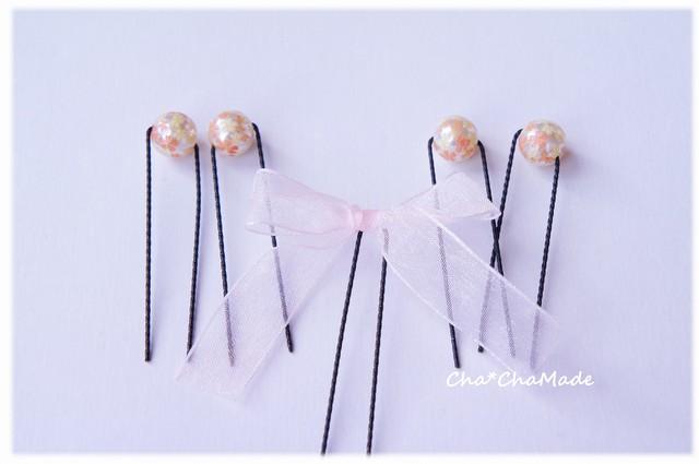 桜のパールとリボン Uピン 5本セット