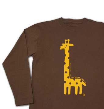 giraffe☆キリン 片面プリント 長袖Tシャツ【受注生産品】