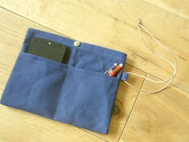 パラフィン帆布のバッグインバッグ ネイビー